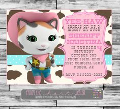 Disney Sheriff Callies Wild West Birthday Party Invitation Custom Personalized Saddle Pink Digital File Cowgirl Yee Haw
