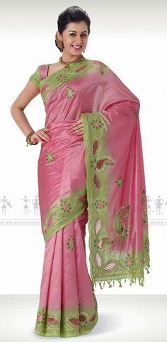 lovely pink and green pattu saree