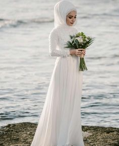 Beautiful Prom Dresses, A-Line Jewel Long Sleeves Floor-Length With Applique Chiffon Wedding Dresses Jennifer Bridal Tesettür Gelinlik Modelleri 2020 - Tesettür Modelleri ve Modası 2019 ve 2020 Wedding Dress Chiffon, Muslim Wedding Dresses, Muslim Brides, Chiffon Dresses, Muslim Girls, Classy Prom Dresses, Fitted Prom Dresses, Beautiful Prom Dresses, Dresses With Sleeves