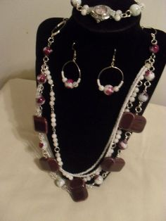 3 Piece Mauve & White necklace set, bracelet watch,  earrings #ShesGifted