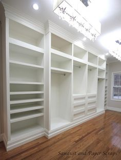 DIY Master Closet!! (And all done by a woman...Sandra. So talented especially with all those power tools. Check out her video...the making of.)