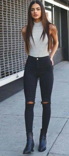 Black jeans stripe top