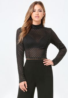 Standout long-sleeved top in a sheer diamond mesh design finished with chic mock neck. Bra has padded cups, adjustable straps and adjustable back hook-and-eye closures. Top has back neck button-loop closures.