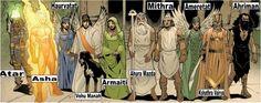 Gods zoroastristas ou persas Ahura Mazda (deus da criação), Ahriman (deus do mal), Ameteretat (deusa da vegetação), Armaiti (deusa da Terra), Asha (deus do fogo), Atar (deus do fogo), Haurvatat (deusa da água), Kshathra Vairya (deus do metal), Mitra (deus da luz e justiça), Bahman (deus dos animais)