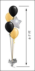 Popular for all occasions is the 11in or 16in Balloon Centerpiece (4 Latex/1 Star) arranged and hand-delivered by balloonplanet.com