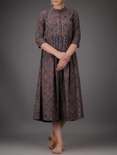 Buy Indigo Red Beige Ajrakh printed Cotton Dress with Gathers Online at Jaypore.com