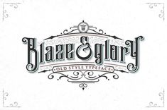 Blaze & Glory Typeface + Extras by Zerowork Studio. Blaze & Glory Typeface is the first commercial typeface from Zerowork Studio. With classic, elegant, vintage, and clean feel. Come with 2 styles regular one and drop shadow style. Also with some catchwor Design Typography, Typography Fonts, Logo Design, Vintage Typography, Graphic Design, Typeface Font, Graffiti Lettering, Script Fonts, Design Art