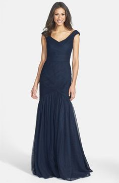 ML Monique Lhuillier Bridesmaids ML Monique Lhuillier Tulle Mermaid Gown available at #Nordstrom