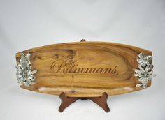 Acacia Wood Tray with Flowers- Serving Piece- Wedding - Anniversary - Wood Anniversary Gift- Unique Gifts- Unique Bowls by LowcountryRoots on Etsy