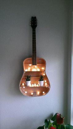 Guitar Shelf DIY Bedroom Projects for Men 11 Awesome Man Cave Ideas, check it… Guitar Shelf, Guitar Diy, Guitar Wall Hanger, Guitar Storage, Guitar Crafts, Guitar Case, Acoustic Guitar, Diy Projects For Bedroom, Diy For Room