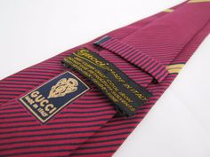 GUCCI Vintage Trendy Skinny Tie 100% Italy Mid Century Mod Striped Red Black #Gucci #Tie
