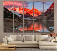 Mountains Lake and Ice Art Interior Room Decor Mountain Grassland Natural Landscape Art Wall Modern Home Decor Sky Ice Ice canvas Snow Art by ArtWog Office Wall Decor, Office Walls, Room Decor, Colorful Wall Art, Large Wall Art, Winter Landscape, Landscape Art, New York Canvas, Oversized Wall Art