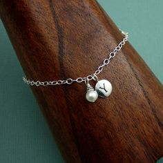 Pearl Initial Charm Bracelet  sterling silver  charm by TheZenMuse, $34.00