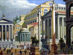 The Forum of Ancient Rome (Original) art by Severino Baraldi at The Illustration Art Gallery