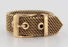 Antique Art Deco 14 Karat Rose Gold Buckle Ring Fine Estate Jewelry Pre-Owned Vintage $895