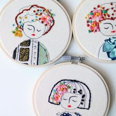 I gotta make more of these cuties. #embroidery #elenacaron #nc #raleigh #illustration #art #textile #girl