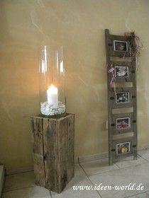 Deko aus altem holz  Details zu Holz Säule Rustical Windlicht Landhaus Kerze Dekoration ...