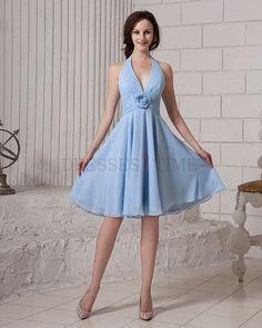 Elegant Halter Empire Waist Flower Knee-Length Chiffon Bridesmaid Dresses CHBD-80005
