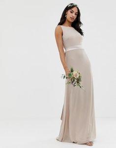 0ea37d458c TFNC sateen bow back maxi bridesmaid dress in mink