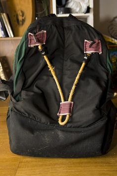 Simple way of making your backpack mountable on your bike rack, without losing any backpack functionality.