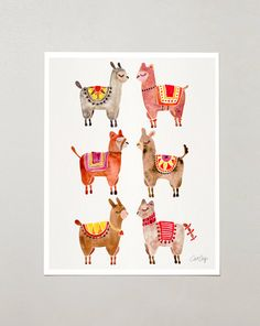 """Alpacas – Signed Watercolor Painting Print by CatCoq. Artwork Printed on 8.5""""x11"""" High-Quality Archival Epson Paper. Alpaca, animals, Peru"""