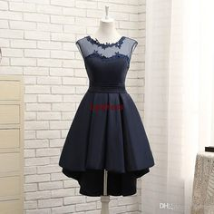 Navy Blue Hi Lo Prom Dresses Satin Party Dresses Illusion Sheer With Applique Lace Up Back Prom Dresses Cheap Beautiful Prom Dresses 2015 Best Prom Dress From Lpdress, $74.0| Dhgate.Com