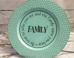 Turquoise Decorative Charger Plate with HomeFamily Blessing Saying in brown vinyl lettering and large Burlap bow & Turquoise Decorative Charger Plate with HomeFamily Blessing Saying ...