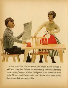 Mother and Father dolls don't know what they would do without their morning coffee.