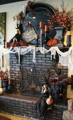 witches and pumpkin halloween mantel decoration fireplace