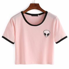 Shop Pink Crew Neck Alien Print Crop T-Shirt online. SheIn offers Pink Crew Neck Alien Print Crop T-Shirt & more to fit your fashionable needs. T Shirt And Shorts, Crop Shirt, Tee Shirts, Pink Shirts, Black Shorts, Shirt Blouses, Denim Shorts, Cropped Tops, Alien Crop Top