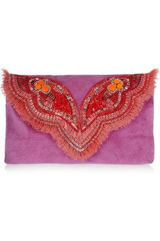 Matthew Williamson Butterfly embellished suede clutch | THE OUTNET
