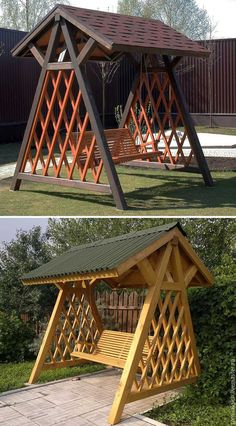 Backyard Hammock, Patio Swing, Garden Furniture Design, Outdoor Garden Furniture, Backyard Patio Designs, Backyard Landscaping, Wood Shop Projects, Swing Design, Garden Deco
