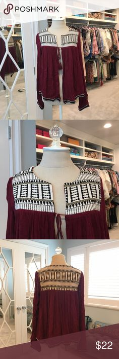 Forever 21 Tie Front Jacket Neverworn & NWT.  Burgundy cardigan jacket with tie front. Embroidered yoke. Forever 21 Sweaters Cardigans