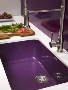 Purple Home Decor Sink Plum Violet Farmhouse Sink Basin Sink Kitchen Sink Stainless Steel Faucet Purple Interior, Home Interior, Purple Home Decor, Plum Decor, Color Violeta, Purple Kitchen, All Things Purple, Purple Stuff, Purple Reign