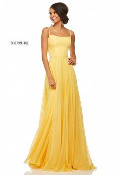 Comanda online, Rochie Sherri Hill 52839 Yellow. Articole masurate, calitate garantata!