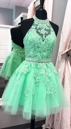 Short Prom Dresses, Green Prom Dresses, Prom Dresses Short, Prom Short Dresses, Homecoming Dresses Short, Short Homecoming Dresses, Sleeveless Prom Dresses, Applique Homecoming Dresses, Mini Prom Dresses