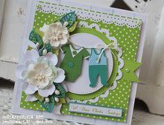 Proste karteczki w soczystej zieleni dla maluszków   z okazji chrztu...                  ***   Dziękuję za wszystkie pozostawione słowa! ...