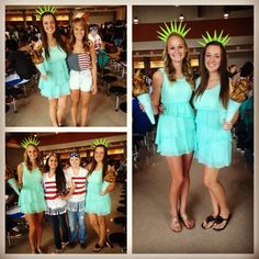 Statue of Liberty costume for merica Monday!  sc 1 st  Pinterest & Merica Monday! | Spirit | Pinterest | Spirit weeks Diy costumes and ...