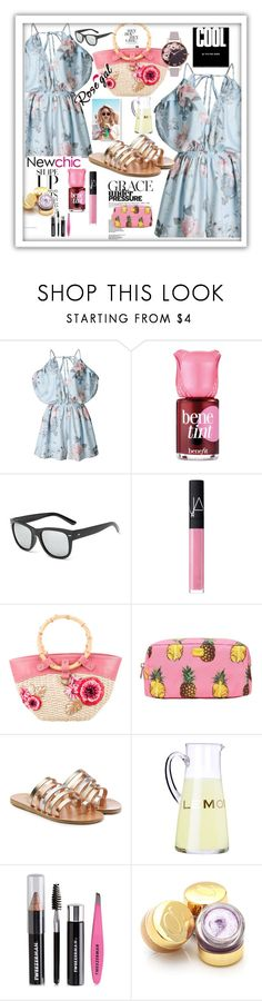 """Rosegal"" by pesanjsp ❤ liked on Polyvore featuring Benefit, NARS Cosmetics, Miu Miu, Wildfox, Dolce&Gabbana, Ancient Greek Sandals, Tweezerman and Olivia Burton"