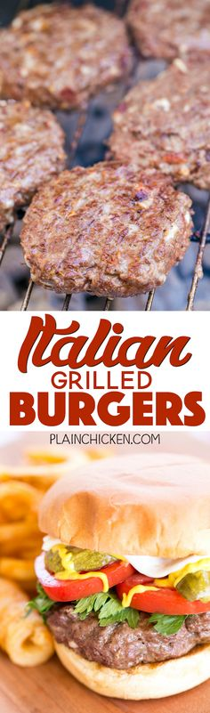 Bursting with flavor! This makes a lot of burgers - great for a crowd and can freeze uncooked burgers for later. Hamburger meat, eggs, Italian salad dressing mix, bacon, bread crumbs and mozzarella c Hamburger Recipes, Ground Beef Recipes, Meat Recipes, Cooking Recipes, Lamb Recipes, Drink Recipes, Italian Grill, Italian Salad, Sandwiches
