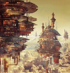 This future city concept Fantasy City, Fantasy Places, Fantasy World, Fantasy Landscape, Urban Landscape, Landscape Art, Estilo Tim Burton, Steampunk City, Futuristic City