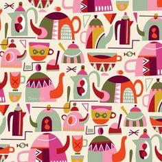 t-pots and coffee cups by Helen Dardik