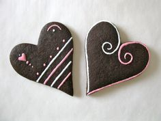 Chocolate Sugar Cookies - Hearts - Lightly Decorated