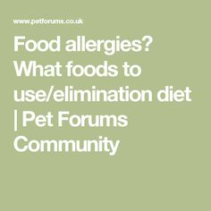 Food allergies? What foods to use/elimination diet | Pet Forums Community