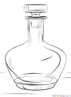 How to draw a bottle step by step. Drawing tutorials for kids and beginners.