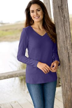 Long Sleeve V-neck  Tee Petite By Chadwicks