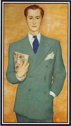 """Portrait of Alexis French????......any one know who painted this. It appears on the book cover of """"The Englishman's Suit"""" by Hardy Amies, and has been credited as a portrait of Amies, but I have my doubts??????...whatever, that's a very stylish DB....."""