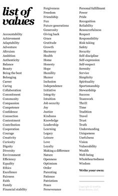 jillcowie - Brene Brown's Value Exercise Essay Writing Skills, English Writing Skills, Book Writing Tips, Writing Words, Writing Prompts, English Vocabulary Words, Learn English Words, Descriptive Words, Words To Use