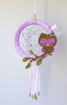 Owl Dreamcatcher in purple room decor for by NikisBirdhouse