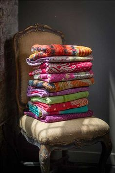 colorful blankets and throws | Colorful Assorted Kantha Throw Blankets